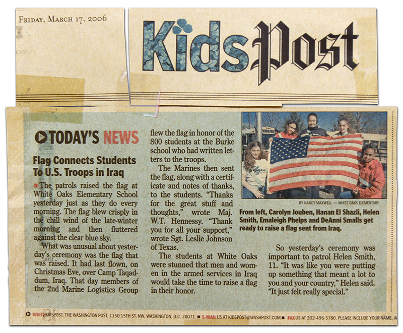 Photograph of a Kids Post article from a March 2006 edition of the Washington Post about a White Oaks Elementary School. The school received a flag that had flown over Camp Taqaddum, a U.S. military installation in Iraq.