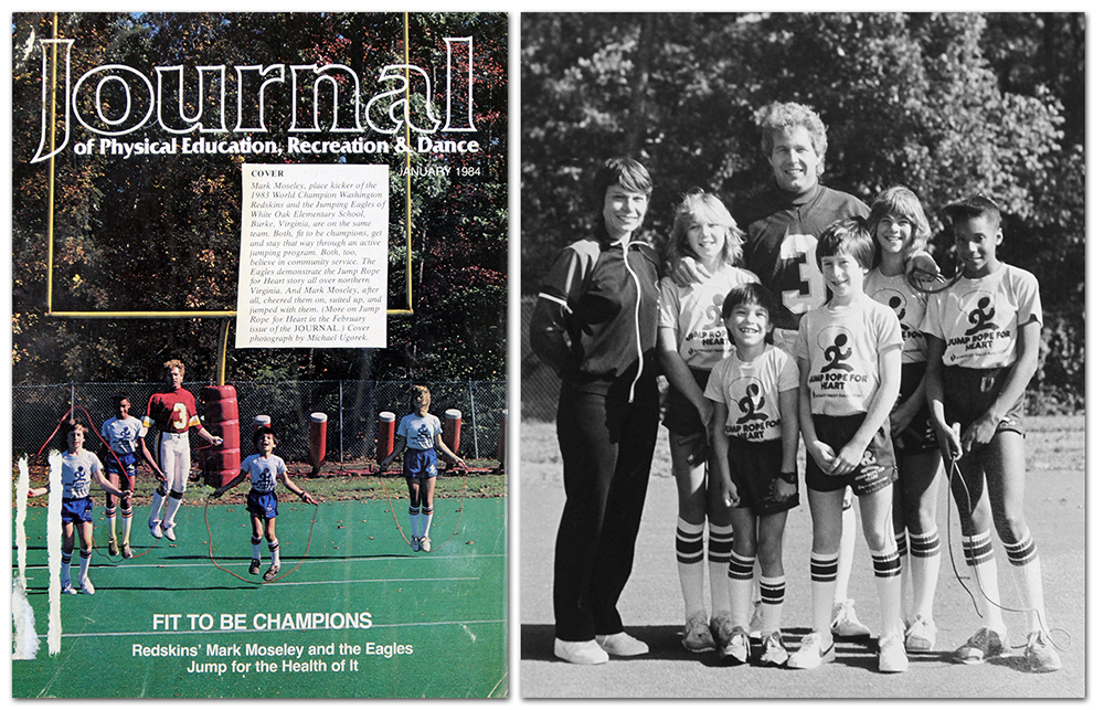 Photographs of the cover of the Journal showing Mark Moseley jumping rope with students; and a second picture of Moseley posing with the students.