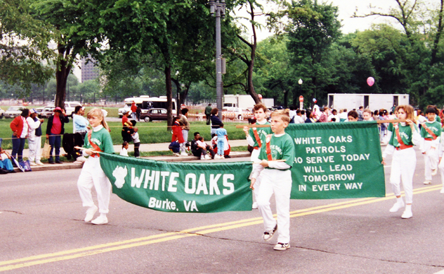 Photograph of White Oaks' Safety Patrol marching in a parade in Washington, D.C.